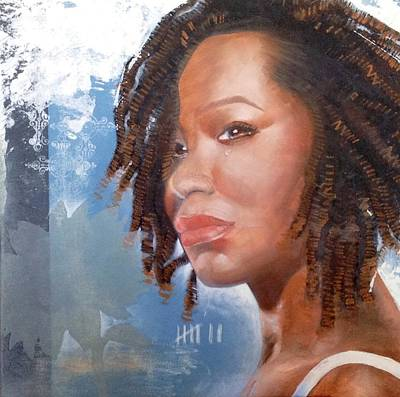 Contemporary Ethnic Artist Painting - Woman Of Magdala by Christopher Marion Thomas