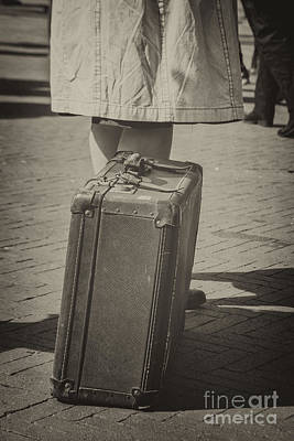 Woman Of The 1940's Waiting With Suitcase Art Print