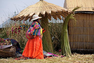 Photograph - Woman Of Uros Island, Lake Titicaca, Peru by Lucinda Walter