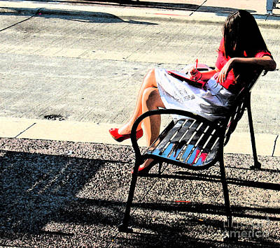 Woman On A Bench Art Print by Gary Everson