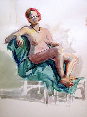 Painting - Woman On A Blue Cloth by Mark Lunde
