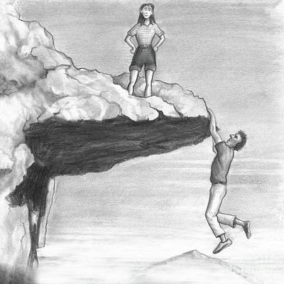 Drawing - Woman On A Cliff With A Man Hanging From The Edge by Lee Serenethos