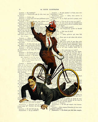 Edwardian Woman Digital Art - Woman On Bicycle Riding Over Man by Madame Memento