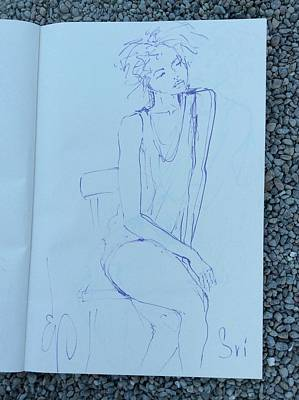 Drawing - Woman On Chair Leaning On One Hand by Elizabeth Parashis