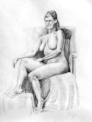 Inner World Drawing - Woman On Chair by Mark Johnson