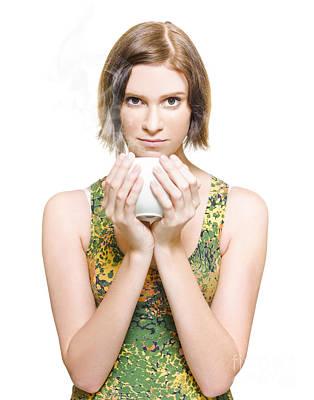 Woman On Coffee Break Art Print by Jorgo Photography - Wall Art Gallery