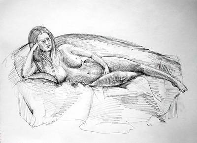 Inner World Drawing - Woman On Couch by Mark Johnson