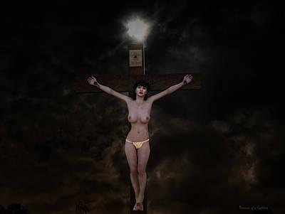 Donna Digital Art - Woman On  Cross In Dark 3d by Ramon Martinez