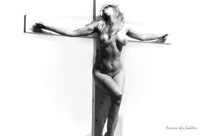 Female Christ Photograph - Woman On Cross Light V by Ramon Martinez
