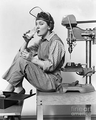 Drill Presses Photograph - Woman On Lunch Break, C.1940s by H. Armstrong Roberts/ClassicStock