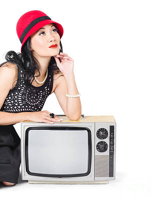 Thoughtful Photograph - Woman On Retro Tv. Fifties Copyspace Broadcast by Jorgo Photography - Wall Art Gallery