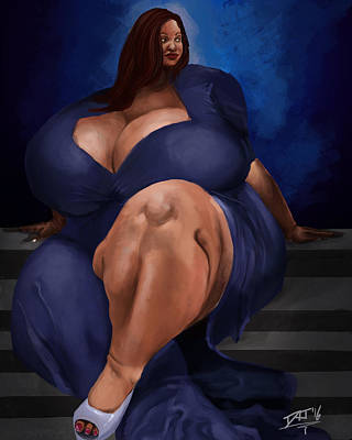 Digital Art - Woman On Steps by David James