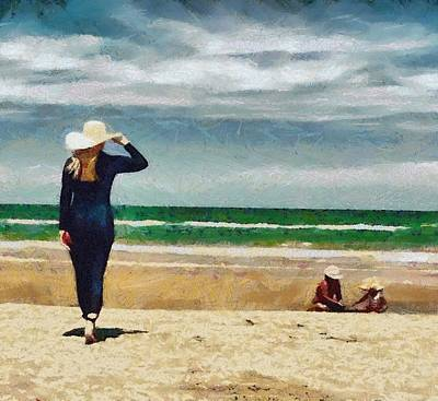 Digital Art - Woman On The Beach by Carrie OBrien Sibley