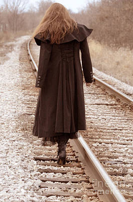Woman On Tracks Art Print