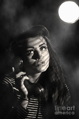 Femme Fatale Photograph - Woman On Vintage Telephone by Amanda Elwell