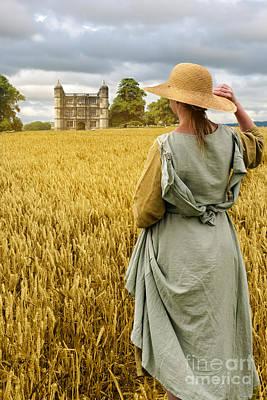 Cornfield Photograph - Woman Overlooking Wheat Field by Amanda Elwell