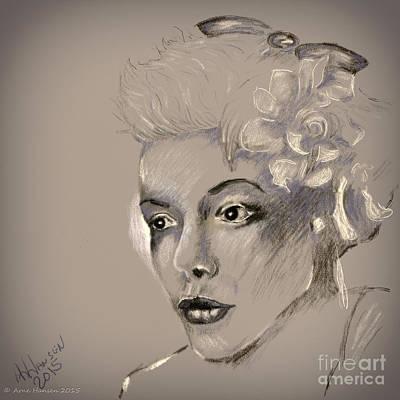 Photograph - Woman Pencil Study 33 by Arne Hansen