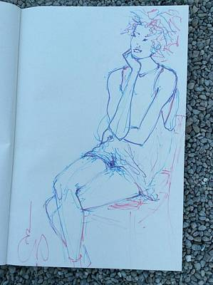 Drawing - Woman Pensive by Elizabeth Parashis