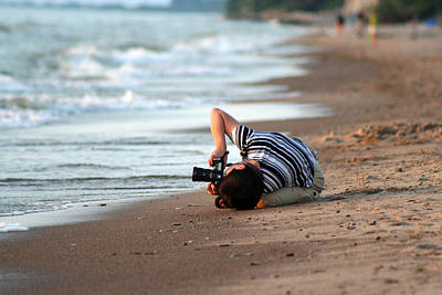 Beach Photograph - Woman Photographing Sunset by Christopher Purcell