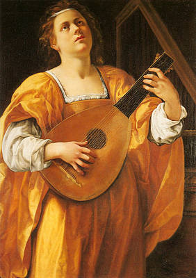 Woman Playing A Lute Art Print