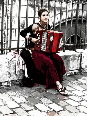 Sacre Coeur Digital Art - Woman Playing Accordion by Helissa Grundemann