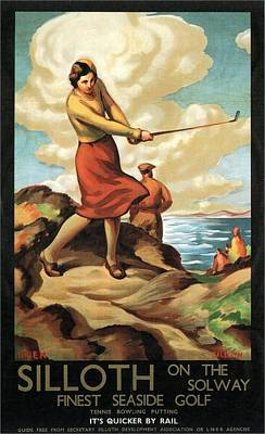 Sports Paintings - Woman Playing Golf on the seaside in Silloth, England - Vintage Illustrated Poster by Studio Grafiikka