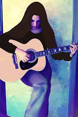 Digital Art - Woman Playing Guitar by Victor Shelley