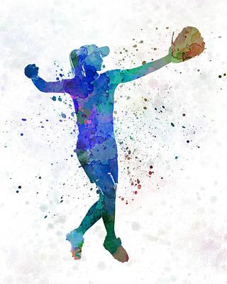 Batter Painting - Woman Playing Softball 02 by Pablo Romero