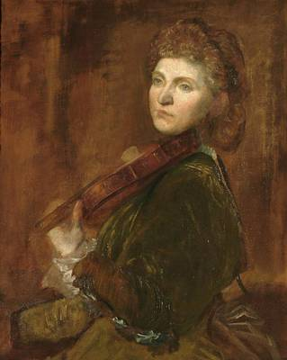 Woman Playing Violin Painting - Woman Playing Violin by G F Watts