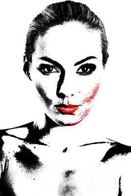 Woman Portrait In Art Look Art Print