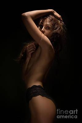 Arouse Photograph - Woman Posing In Dark by Aleksey Tugolukov