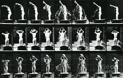Woman Pouring A Basin Of Water Over Her Head Print by Eadweard Muybridge