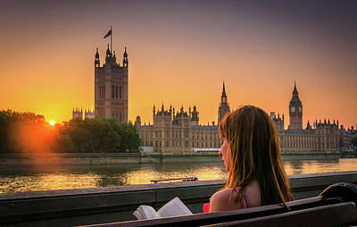 Photograph - Woman Reading A Book Next To Houses Of Parliament, London by Alexandre Rotenberg