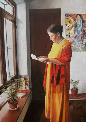 One Point Perspective Painting - Woman Reading A Letter by Kevin Hopkins