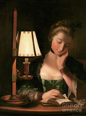 Silk Painting - Woman Reading By A Paper Bell Shade by Henry Robert Morland