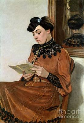 Library Painting - Woman Reading by Felix Edouard Vallotton