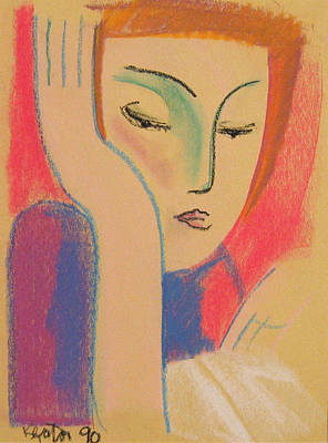 Pastel Drawing Drawing - Woman Reading by John Keaton
