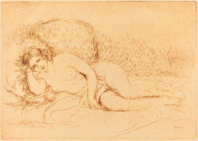 Woman Reclining - Femme Couchee Art Print by Auguste Renoir