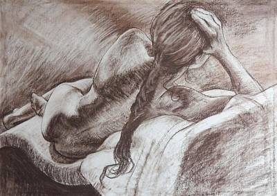 Drawing - Woman Reclining by Harry Robertson