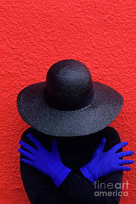 Photograph - Woman Red Wall by Jim Corwin
