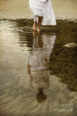Photograph - Woman Reflected In Puddle by Clayton Bastiani