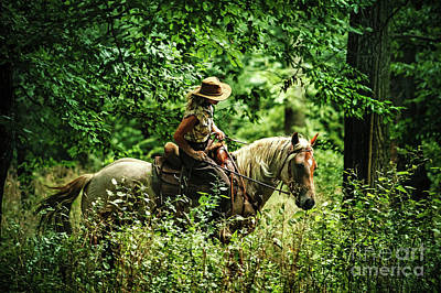 Photograph - Woman Riding Horse In The Forest by Dimitar Hristov