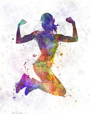 Multicolored Painting - Woman Runner Jogger Jumping Powerful by Pablo Romero