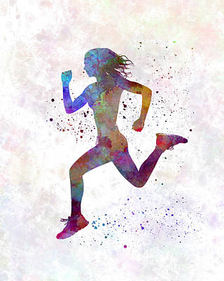 Jogger Wall Art - Painting - Woman Runner Running Jogger Jogging Silhouette 01 by Pablo Romero