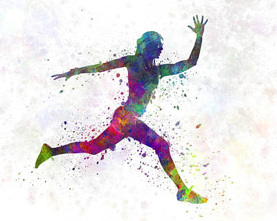 Multicolored Painting - Woman Runner Running Jumping by Pablo Romero