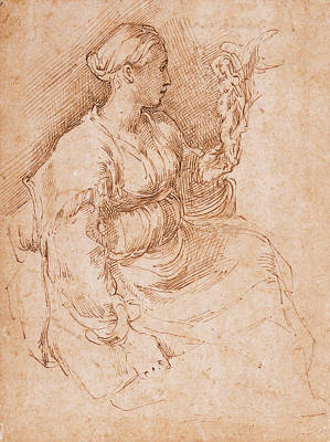 Drawing - Woman Seated Holding A Statuette Of Victory by Parmigianino