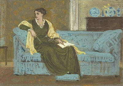 Crane Drawing - Woman Seated On A Sofa by Walter Crane