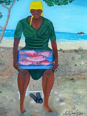 Art Print featuring the painting Woman Selling Red Snapper by Nicole Jean-louis