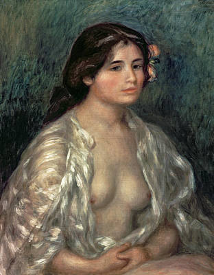 Silk Painting - Woman Semi Nude by Pierre Auguste Renoir