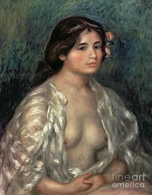 Silk- Painting - Woman Semi Nude by Pierre Auguste Renoir